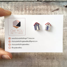 Load image into Gallery viewer, Beach hut mismatch nautical stud earrings - Cute friend gift