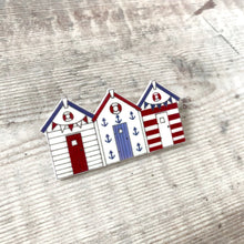 Load image into Gallery viewer, Beach huts pin badge - Summer brooch - Nautical jewellery - Gift for her