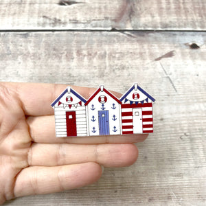 Beach huts pin badge - Summer brooch - Nautical jewellery - Gift for her