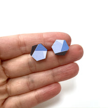 Load image into Gallery viewer, Blue hexagon wooden stud earrings - geometric jewellery