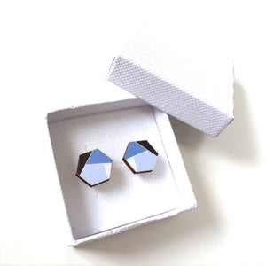 Blue hexagon wooden stud earrings - geometric jewellery