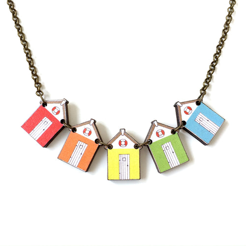 Bright beach hut necklace - Summer gift for her