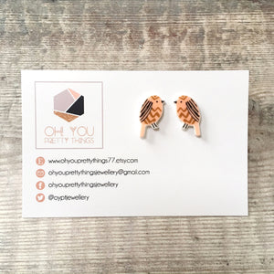 Brown owl bird lover earrings - Quirky stud earrings for her