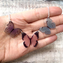 Load image into Gallery viewer, Purple butterflies statement pendant necklace