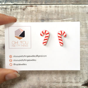 Candy canes christmas stud earrings - Secret santa gift