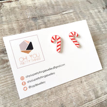 Load image into Gallery viewer, Candy canes christmas stud earrings - Secret santa gift