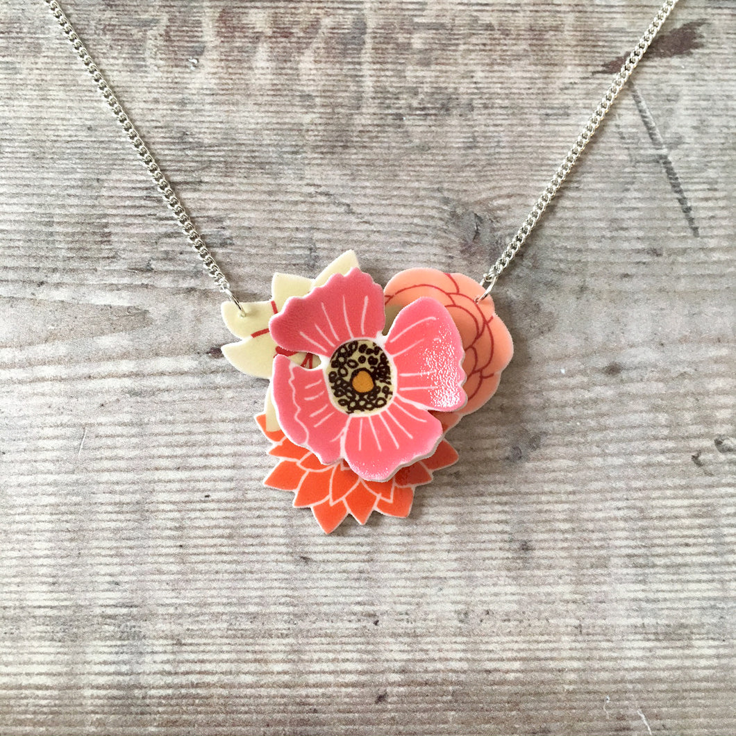 Pink layered flower 3D pendant necklace