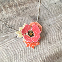 Load image into Gallery viewer, Pink layered flower 3D pendant necklace