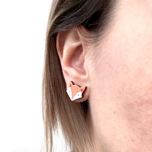 Fox laser cur stud earrings - Cute jewellery gift for her
