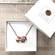 Load image into Gallery viewer, Personalised colourful pattern name necklace - Cute gift for her