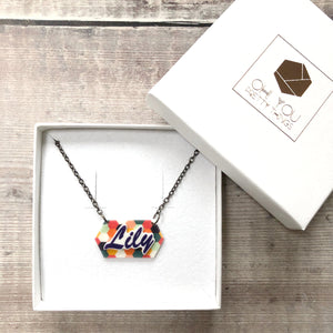 Personalised colourful pattern name necklace - Cute gift for her
