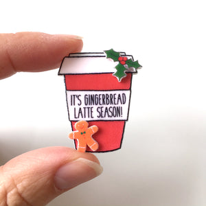 Gingerbread latte coffee cup pin badge stocking filler gift