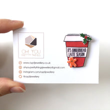 Load image into Gallery viewer, Gingerbread latte coffee cup pin badge stocking filler gift