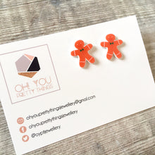 Load image into Gallery viewer, Gingerbread man stud earrings - Xmas novelty earrings - Secret santa