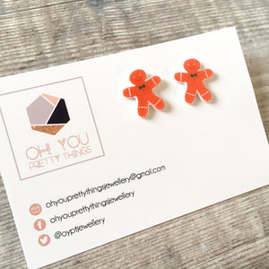 Gingerbread man stud earrings - Xmas novelty earrings - Secret santa