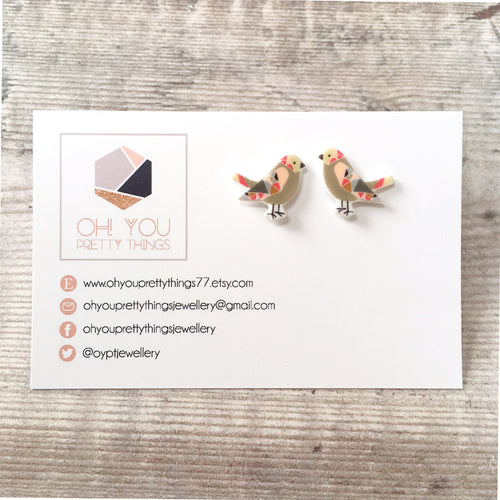Brown bird lover earrings - Quirky stud earrings for her