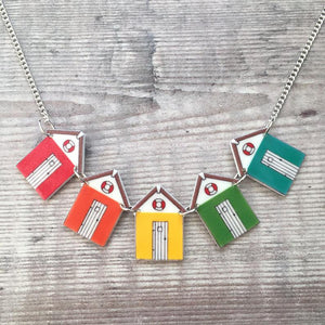 Beach hut necklace - Bunting necklace - Bright rainbow colours - Summer jewellery