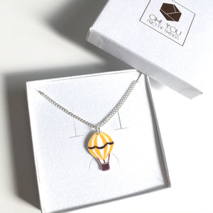 Yellow hot air balloon pendant necklace