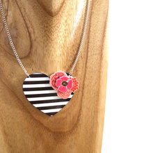 Load image into Gallery viewer, Striped heart necklace - Black and white - Valentine gift for her