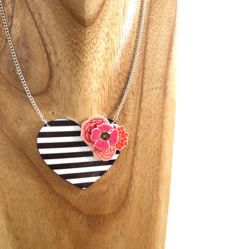 Striped heart necklace - Black and white - Valentine gift for her