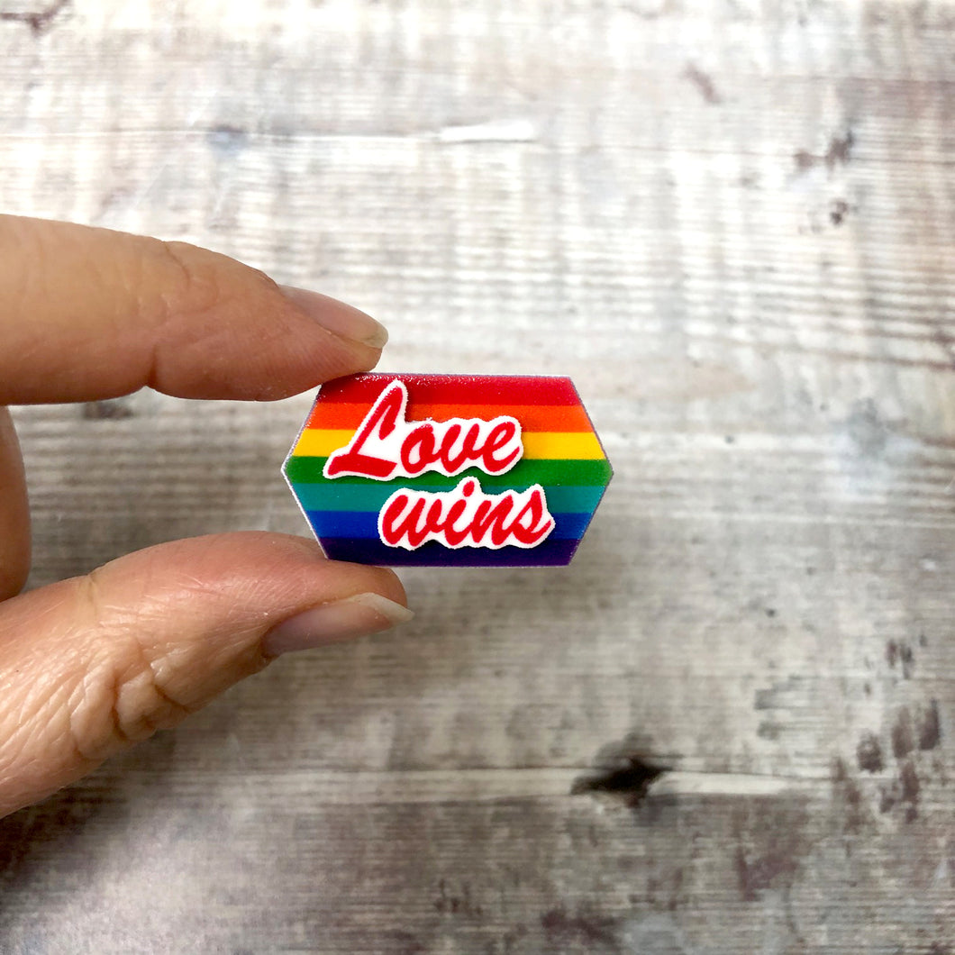 Love wins rainbow colours pin badge