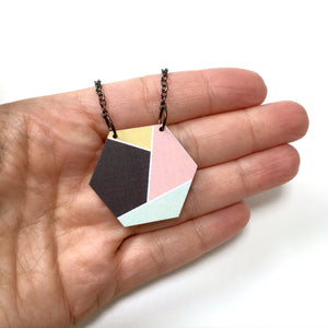 Geometric hexagon wooden pendant necklace