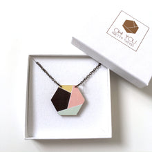 Load image into Gallery viewer, Geometric hexagon wooden pendant necklace