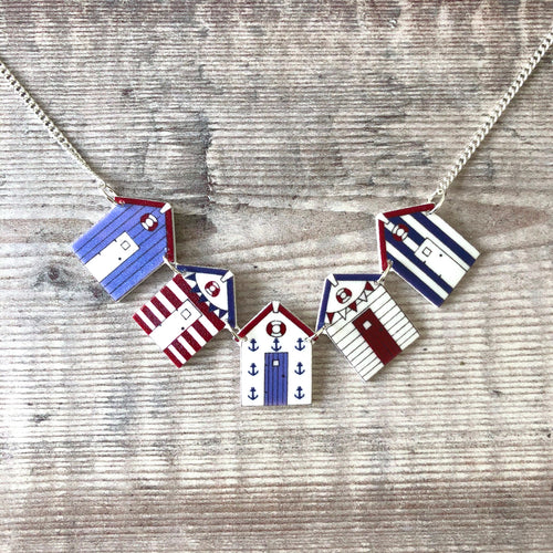 Beach hut necklace - Bunting necklace - Blue and red nautical colours - Summer jewellery