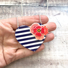 Load image into Gallery viewer, Navy nautical heart necklace - Stripes and flowers - Valentine gift for her