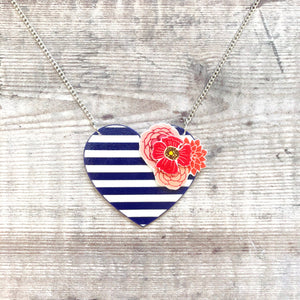 Navy nautical heart necklace - Stripes and flowers - Valentine gift for her