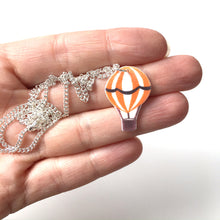 Load image into Gallery viewer, Orange hot air balloon pendant necklace