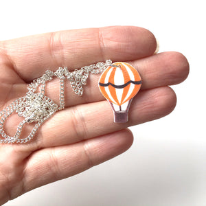 Orange hot air balloon pendant necklace
