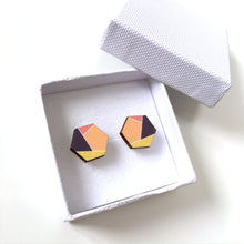 Load image into Gallery viewer, Geometric hexagon wooden stud earrings