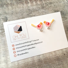 Load image into Gallery viewer, Pink bird lover earrings - Quirky stud earrings for her