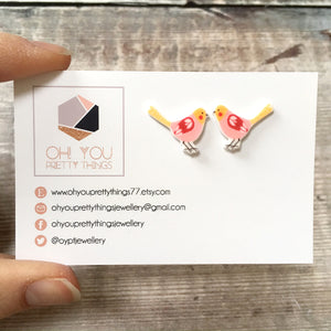 Pink bird lover earrings - Quirky stud earrings for her