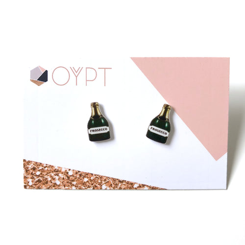 Prosecco bottle stud earrings - Cute gift for her