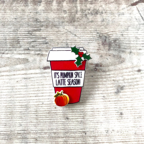 Pumpkin spice latte coffee cup pin badge stocking filler gift