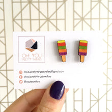 Load image into Gallery viewer, Rainbow ice lolly stud earrings - Summer jewellery