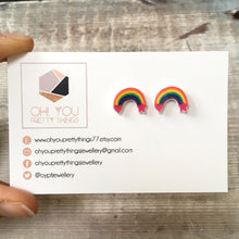 Load image into Gallery viewer, Rainbow colours bright stud earrings