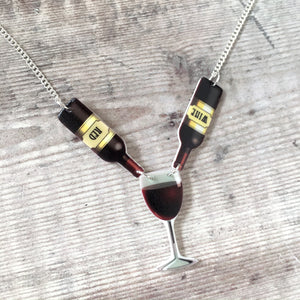 Red wine necklace - Wine lover gift