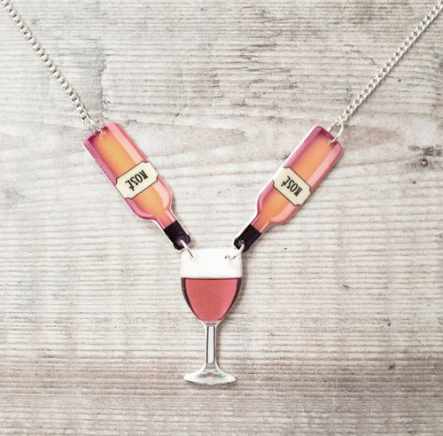 Rose wine necklace - Wine lover jewellery gift