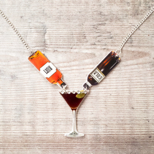Rum and cola necklace - Cocktail necklace