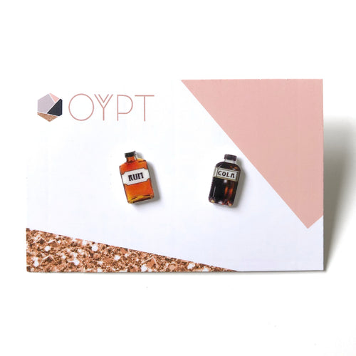 Rum and cola bottle stud earrings - Quirky gift for friends