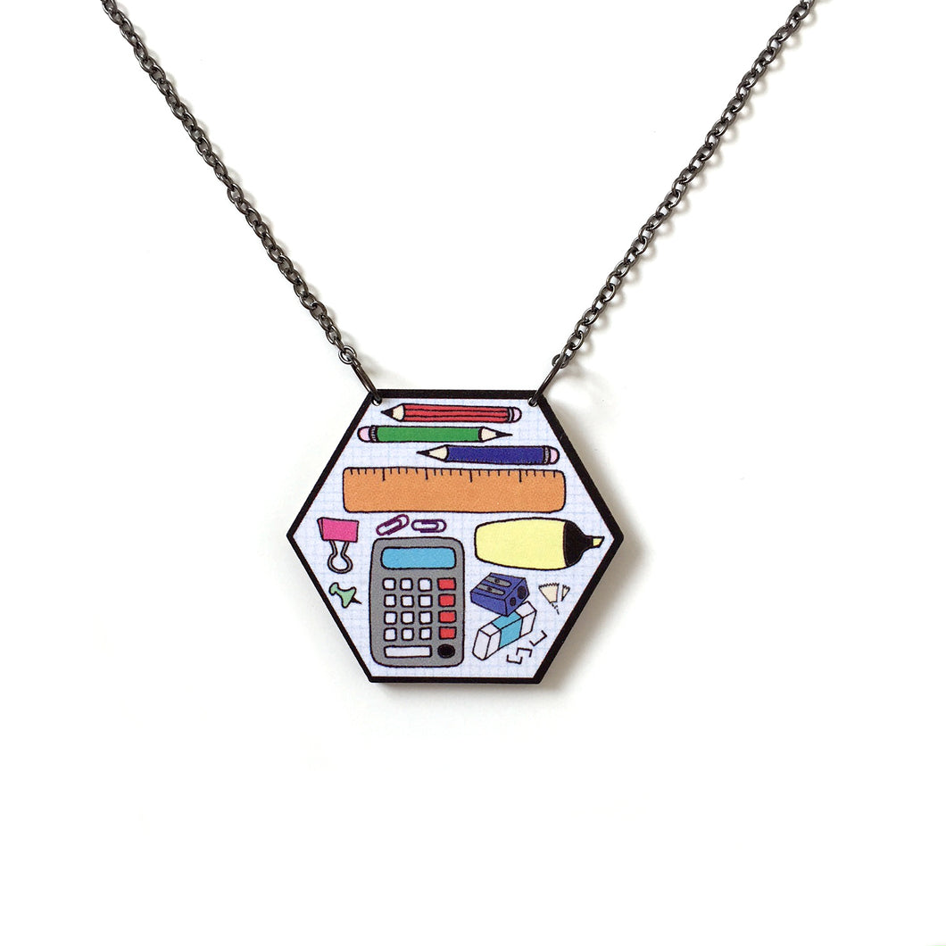 Stationery hexagon pencil case statement necklace