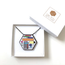 Load image into Gallery viewer, Stationery hexagon pencil case statement necklace