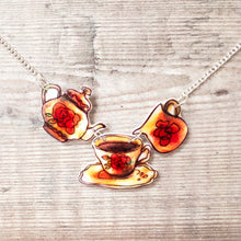 Load image into Gallery viewer, Teapot and tea cup vintage-style necklace