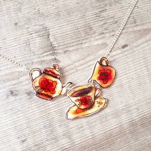 Teapot and tea cup vintage-style necklace