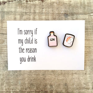 Teacher pink gin stud earrings gift