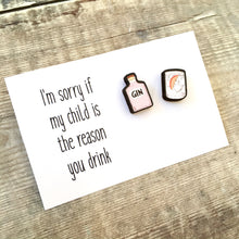 Load image into Gallery viewer, Teacher pink gin stud earrings gift