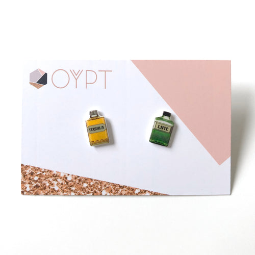 Tequila and lime bottle stud earrings - Quirky gift for friends